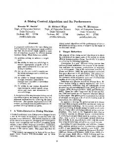 A Dialog Control Algorithm and Its Performance - Association for ...