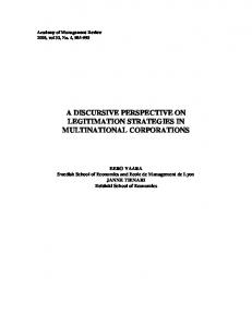 a discursive perspective on legitimation strategies in ... - Helda