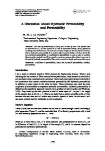 A Discussion About Hydraulic Permeability and Permeability