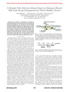 A Disjoint Path Selection Scheme Based on Enhanced ... - IEEE Xplore