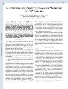 A Distributed and Adaptive Revocation Mechanism for P2P networks