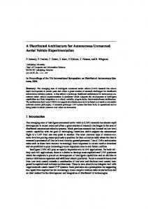 A Distributed Architecture for Autonomous Unmanned Aerial Vehicle ...