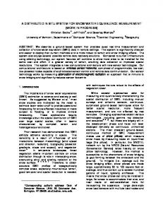 a distributed in situ system for snow water equivalence measurement
