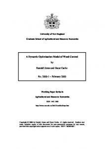 A Dynamic Optimisation Model of Weed Control by ... - AgEcon Search