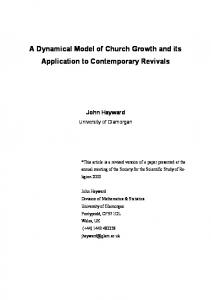 A Dynamical Model of Church Growth and its Application to ...
