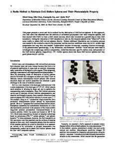 A Facile Method to Fabricate ZnO Hollow Spheres and Their ...