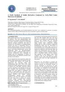 A Facile Synthesis of Indole Derivatives Catalyzed by CeCl3.7H2O