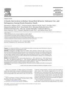 A Family Intervention to Reduce Sexual Risk Behavior, Substance Use ...