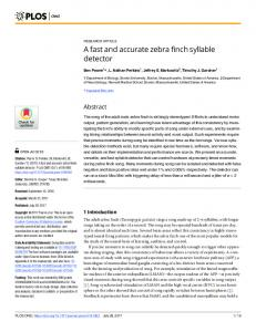 A fast and accurate zebra finch syllable detector - PLOS