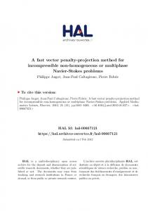 A fast vector penalty-projection method for incompressible non ... - Hal