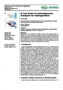 A Few Notes to Heterogeneous Catalysts for
