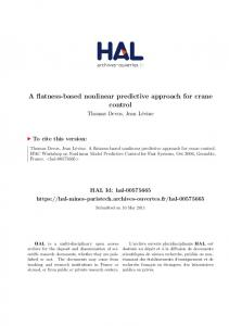 A flatness-based nonlinear predictive approach for crane control - Hal