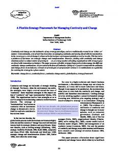 A Flexible Strategy Framework for Managing Continuity and Change