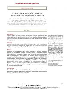 A Form of the Metabolic Syndrome Associated with ...