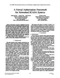 A Formal Authorization Framework for Networked SCADA Systems