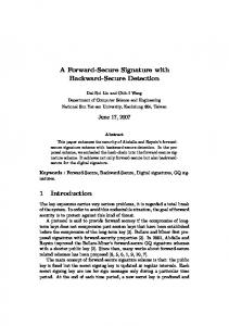 A Forward-Secure Signature with Backward-Secure Detection 1 ...