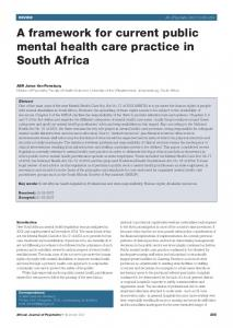 A framework for current public mental health care practice in South Africa