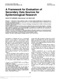 A Framework for Evaluation of Secondary Data Sources for ...