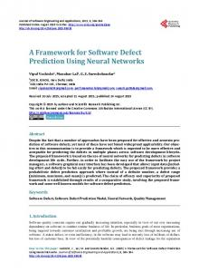 A Framework for Software Defect Prediction Using Neural Networks