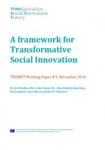 A framework for Transformative Social Innovation - TRANSIT social ...