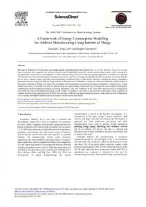A Framework of Energy Consumption Modelling for