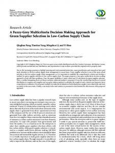 A Fuzzy-Grey Multicriteria Decision Making Approach for Green ...