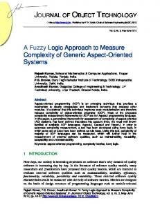 A Fuzzy Logic Approach to Measure Complexity of Generic Aspect ...