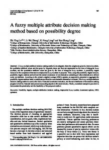 A fuzzy multiple attribute decision making method based on possibility