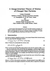 A Gauge-invariant Theory of Motion of Charged Test Particles