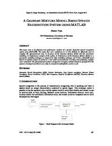 a gaussian mixture model based speech ... - Aircc Digital Library