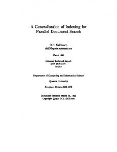 A Generalisation of Indexing for Parallel Document ... - Semantic Scholar