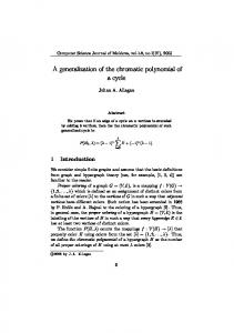 A generalization of the chromatic polynomial of a ... - Semantic Scholar