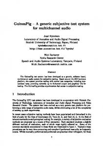 A Generic subjective test system for multichannel audio - CiteSeerX