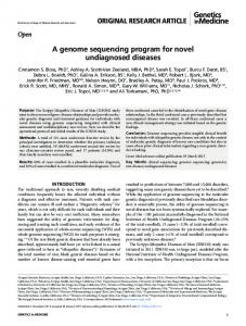 A genome sequencing program for novel ...