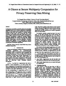 A Glance at Secure Multiparty Computation for Privacy ... - CiteSeerX