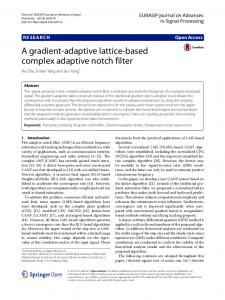 A gradient-adaptive lattice based complex adaptive ... - Springer Link