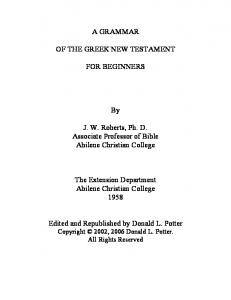 A GRAMMAR OF THE GREEK NEW TESTAMENT FOR ...