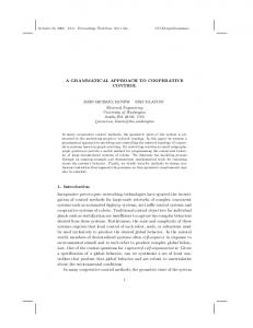 A GRAMMATICAL APPROACH TO COOPERATIVE CONTROL 1
