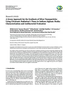 A Green Approach for the Synthesis of Silver Nanoparticles Using ...