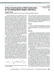 A Green Enantioselective Aldol Condensation for the ...In the ...