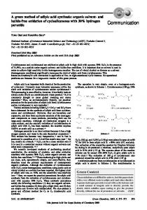 A green method of adipic acid synthesis - Green Chemistry
