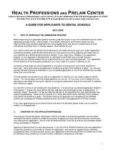 a guide for applicants to dental schools - Health Professions and ...
