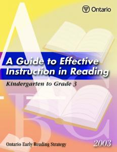 A Guide to Effective Instruction in Reading