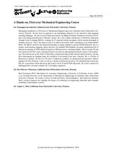 A Hands-on, First-year Mechanical Engineering Course - Asee peer