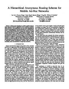 A Hierarchical Anonymous Routing Scheme for Mobile Ad-Hoc Networks