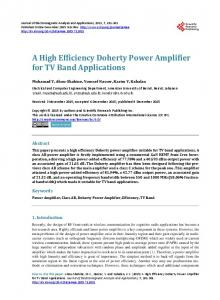 A High Efficiency Doherty Power Amplifier for TV Band Applications