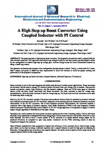 A High Step up Boost Converter Using Coupled Inductor ... - IJAREEIE
