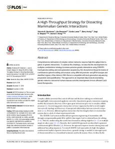 A High-Throughput Strategy for Dissecting