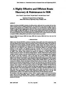 A Highly Effective and Efficient Route Discovery & Maintenance in DSR