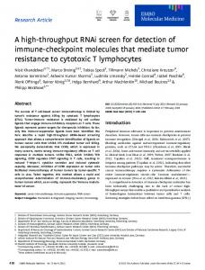 A highthroughput RNAi screen for detection of ... - Wiley Online Library